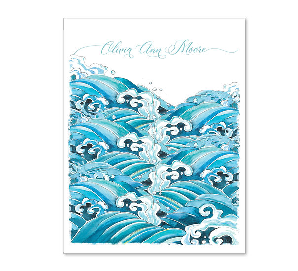 BLUE WAVES Personalized Watercolor Notecards (8)