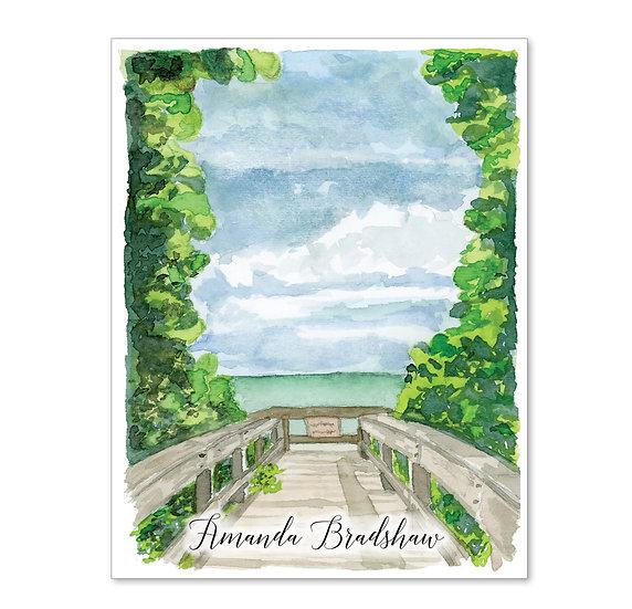 BOARDWALK Personalized Watercolor Notecards (8)