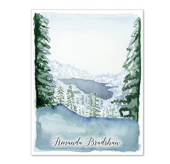 WINTER PINES Personalized Watercolor Notecards (8)