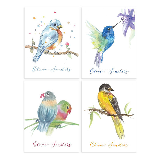 BIRDS Personalized Watercolor Notecards (8)