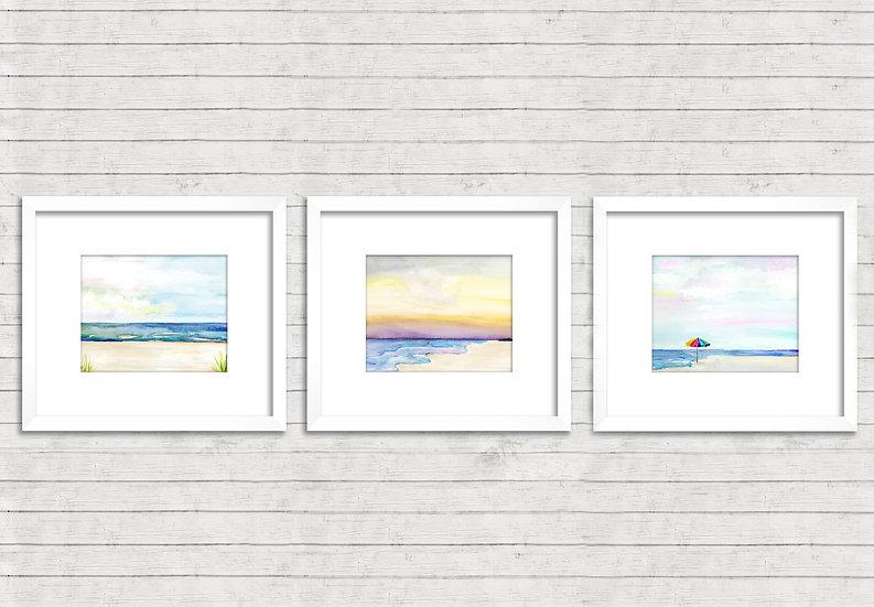 Modern Beach Abstract Watercolor Trio