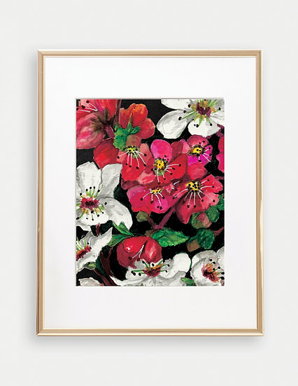 Dark Pink and White Floral Art Print