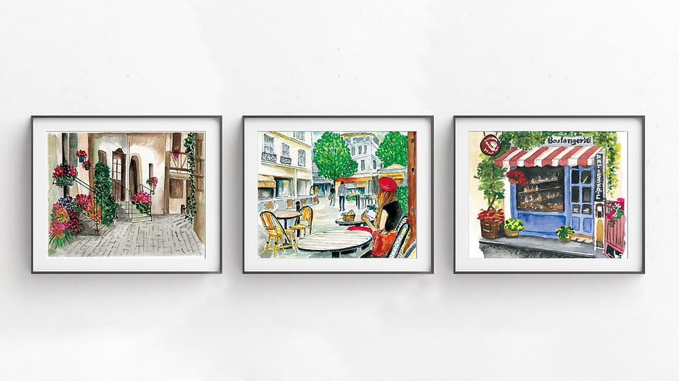Paris Street Triptych Art Prints