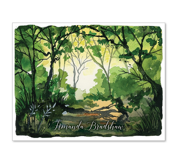 SHADY PATH Personalized Watercolor Notecards (8)