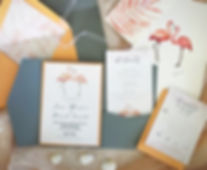 watercolor wedding flamingo invitaton