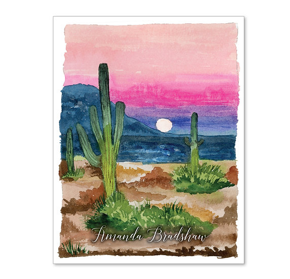 DESERT Personalized Watercolor Notecards (8)