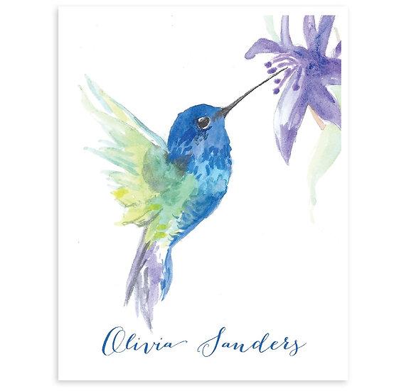 Set Of 8 HUMMING BIRD Monogrammed Watercolor Notecards