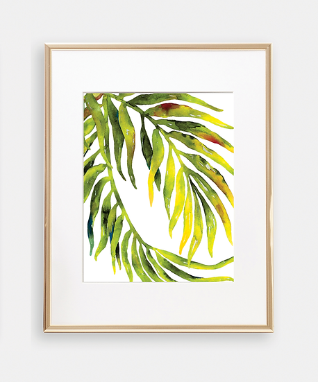 Botanical Golden Palm Leaves Art Print