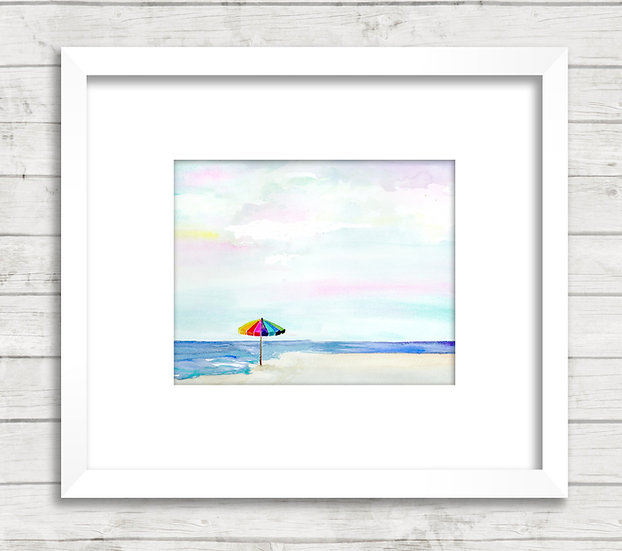 Modern Beach Abstract #3 Watercolor Painting