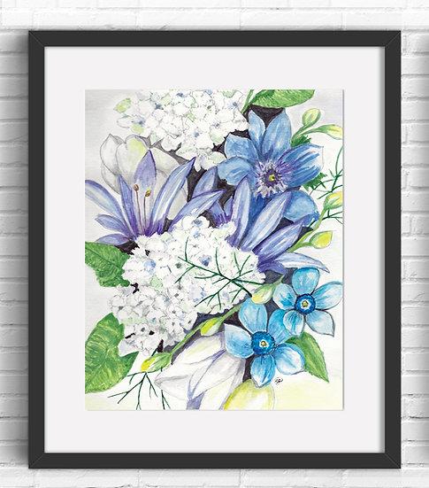 Blue Floral Art Print 2