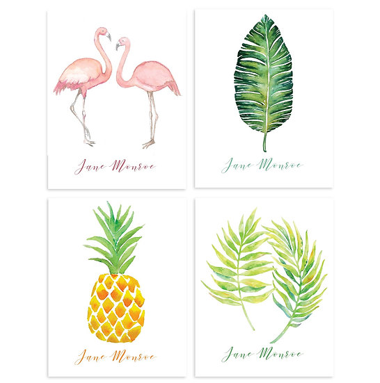TROPICAL Personalized Watercolor Notecards (8)