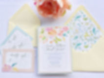 Etherea Light hand drawn flowers wedding invitation with vellum overlay