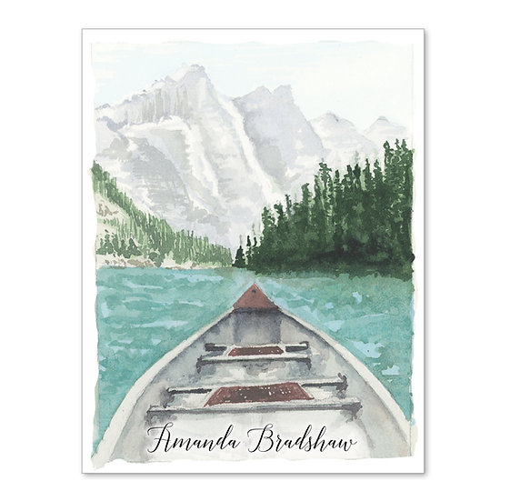 CANOE ON LAKE Personalized Watercolor Notecards (8)