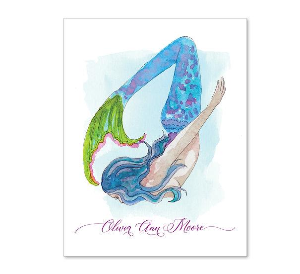 BLUE HAIR MERMAID Personalized Watercolor Notecards (8)