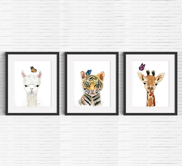 Exotic Baby Animal Watercolor Trio