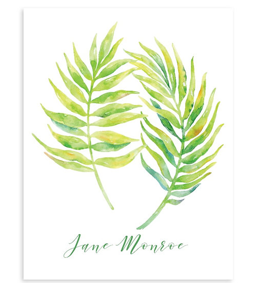 Set Of 8 PALM LEAF Monogrammed Watercolor Notecards