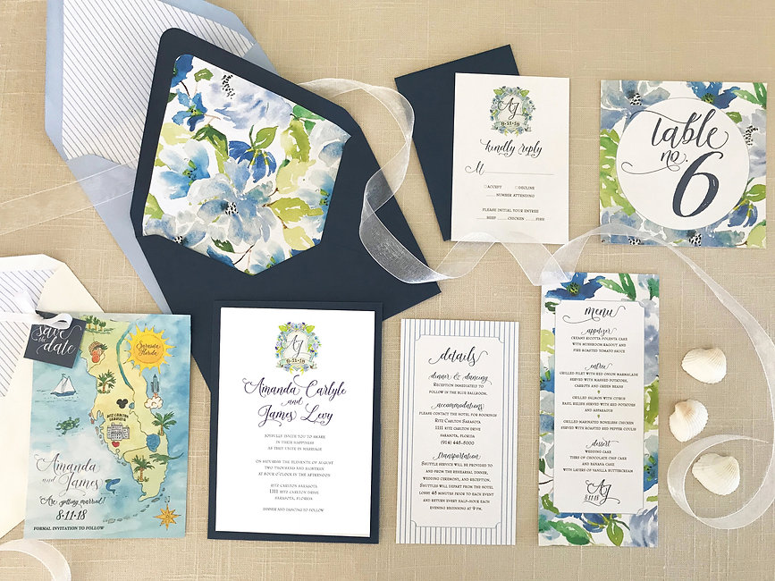 custom blue floral watercolor wedding invitations with custom map