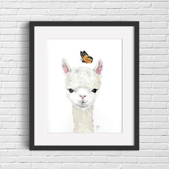 Baby Llama Watercolor Print