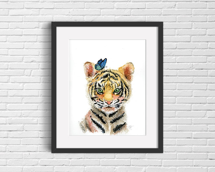 Baby Tiger Watercolor Print