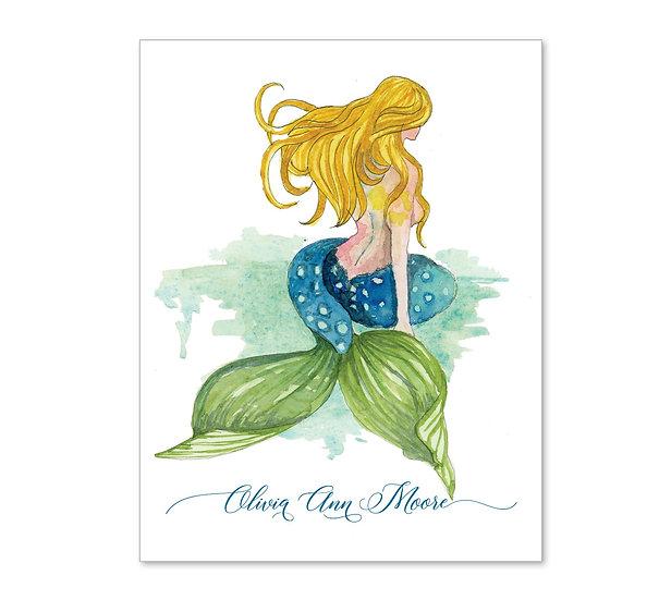 BLONDE MERMAID Personalized Watercolor Notecards (8)