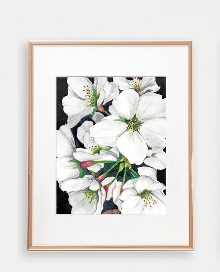 White Floral Art Print