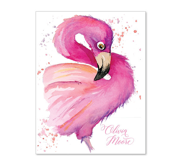 PINK FLAMINGO Personalized Watercolor Notecards (8)