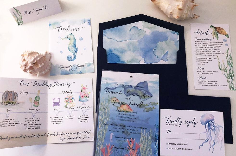 Custom Wedding Invitations Watercolor Design Studio