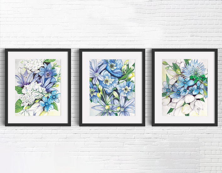 Blue Floral Triptych