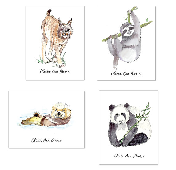 ENDANGERED ANIMALS Personalized Watercolor Notecard (8)
