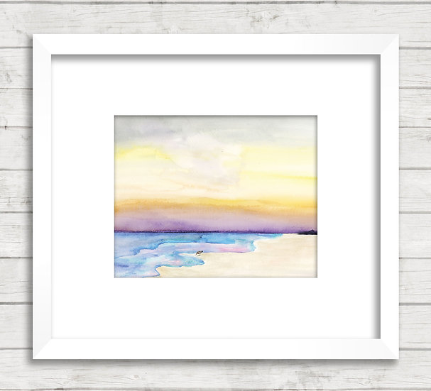 Modern Beach Abstract #2 Watercolor Painting