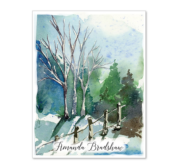 SNOWY TREES Personalized Watercolor Notecards (8)
