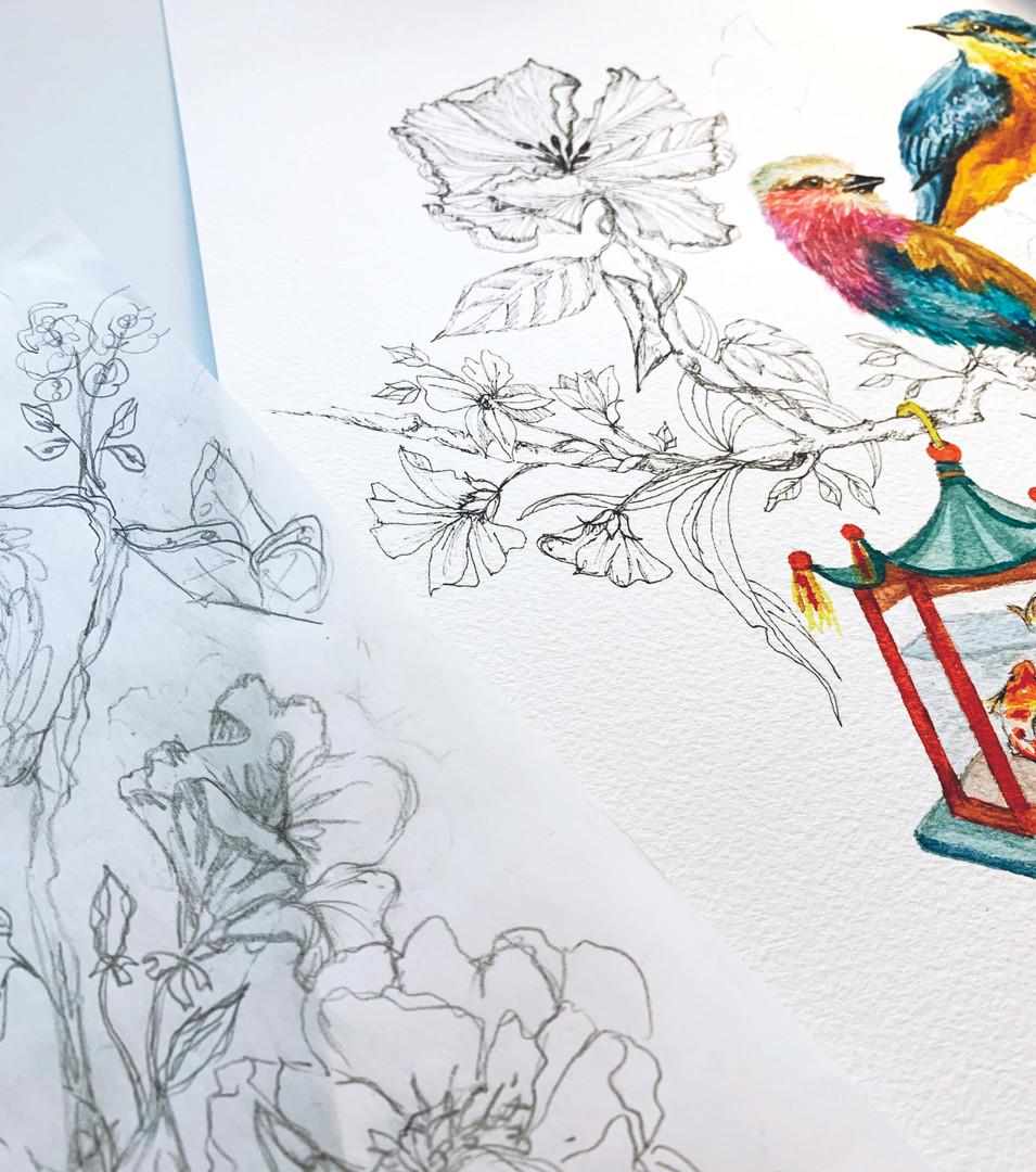 Floral Bird peek