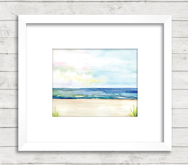 Modern Beach Abstract #1 Watercolor Painting