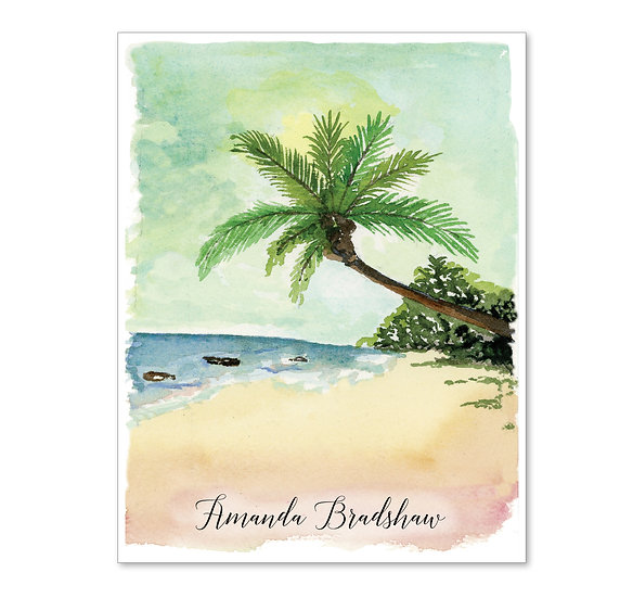 BEACH Personalized Watercolor Notecards (8)