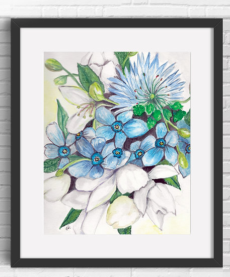 Blue Floral Art Print 1