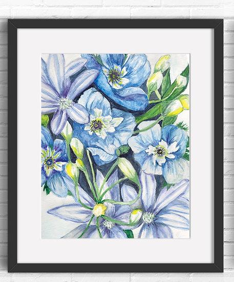 Blue Floral Art Print 3