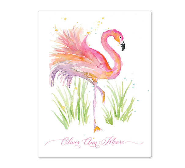 FLAMINGO IN GRASS Personalized Watercolor Notecards (8)