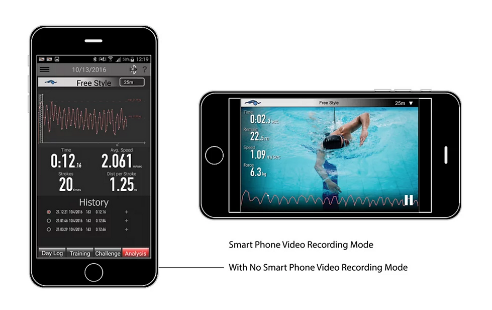 NSD Swimmer iOS app demos video recording mode for swimming analysis
