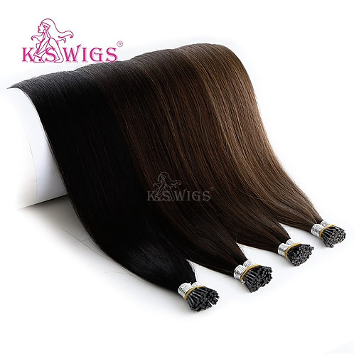 I Tip Extensions: Silky Straight, Brazilian, 100% HH Remy, DoubleDrawn, 25s/Pack