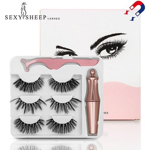 3 Pairs Magnetic Eyelashes, Magnetic Liner & Tweezer Set