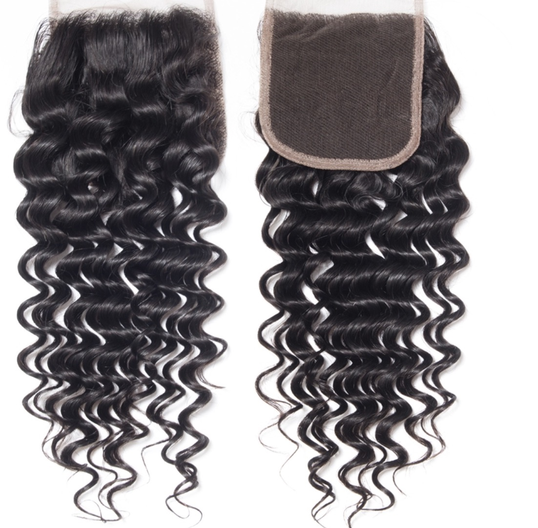 Hair Extensions 4X4 Closure Deep Wave
