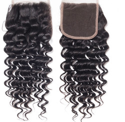 Hair Extensions 4X4 Closure Deep Wave