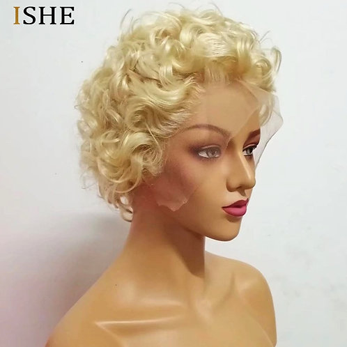 Full Lace Wig: Curly, Blonde 613, Short Wig, Lace Front, 100% Indian Virgin HH