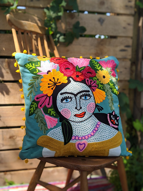 Frida Kahlo Cushion - Turquoise with yellow fringing