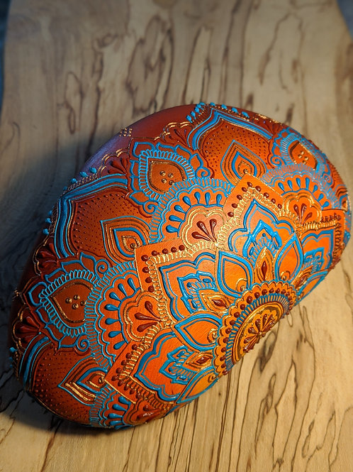 Burnt Orange & Teal Half Mandala