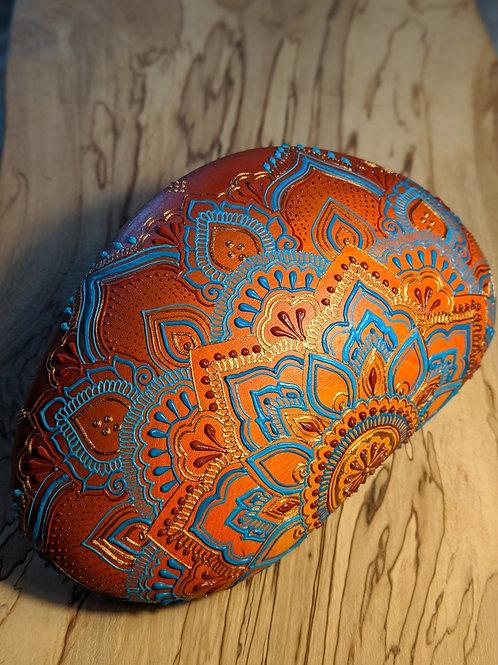 Burnt Orange & Teal Half Mandala