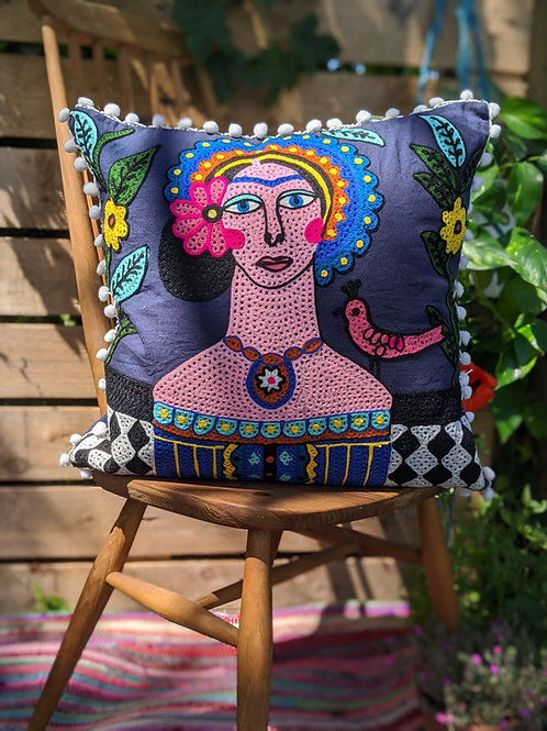 Frida Kahlo Cushion - Navy with white fringing
