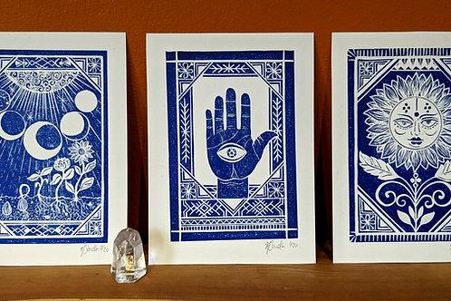 Set of 3 'Cycles, Sunny & Hamsa'