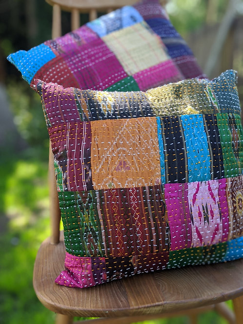 Stitched Recycled Sari Cushion