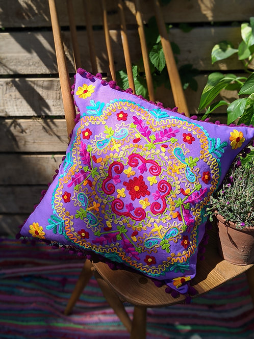 Purple embroidered mandala cushion